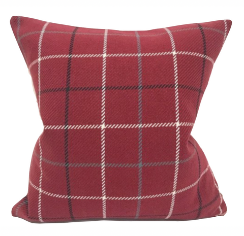 Red Plaid Pillow Cover, Red Windowpane Pillow, Red Decorative Pillow, Decorative Pillow, Red Christmas Pillow, Hackner Home, Designer Pillows