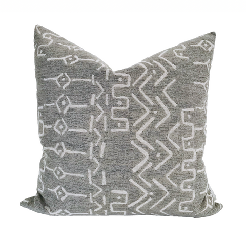 Mud Cloth Pillow, Gray Boho Pillow, Decorative Pillows, Designer Pillows, Gray Mud Cloth Pillows, Hackner Home, Pillow Shop, Mud Cloth decor, Boho Home Decor, Boho Design Style, Scandinavian Pillows, Scandi Home Style, Home Decor, Home Goods, Interior Styling Decor