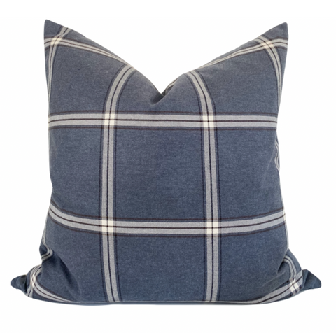Slate Blue Pillow, Blue Pillow Cover, Windowpane Pillow Cover, Windowpane Pillows, Designer Pillows, Designer Plaid Pillows