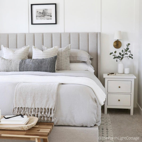 Bedroom Designs, Bedroom Inspiration, Neutral Bedroom decor, Home Styling Bedrooms, Decorative Pillows, Designer Pillows, Hackner Home, Decorative Pillow Covers, Up Scale Pillows, Interiors, Interior Designer, Interior Design