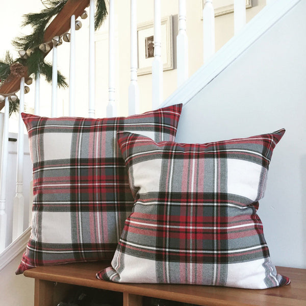 Hackner Home, Christmas Pillows, Red Plaid Pillows, Designer Pillows, Christmas Tartan Pillow, Christmas Decor