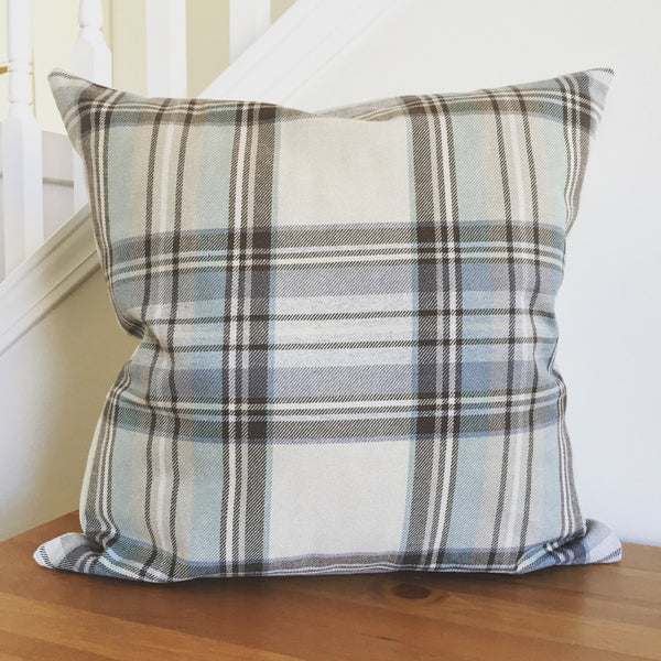 Teal Pillow Cover, Plaid Pillow Cover, Modern Farmhouse Pillow Cover