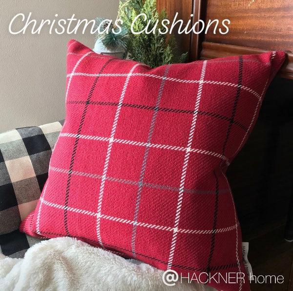 Christmas Pillows, Christmas Pillow Cover, Red Pillow Cover, Red Plaid Pillow Cover, Plaid Pillow Cover, Tartan Pillow, Hackner Home