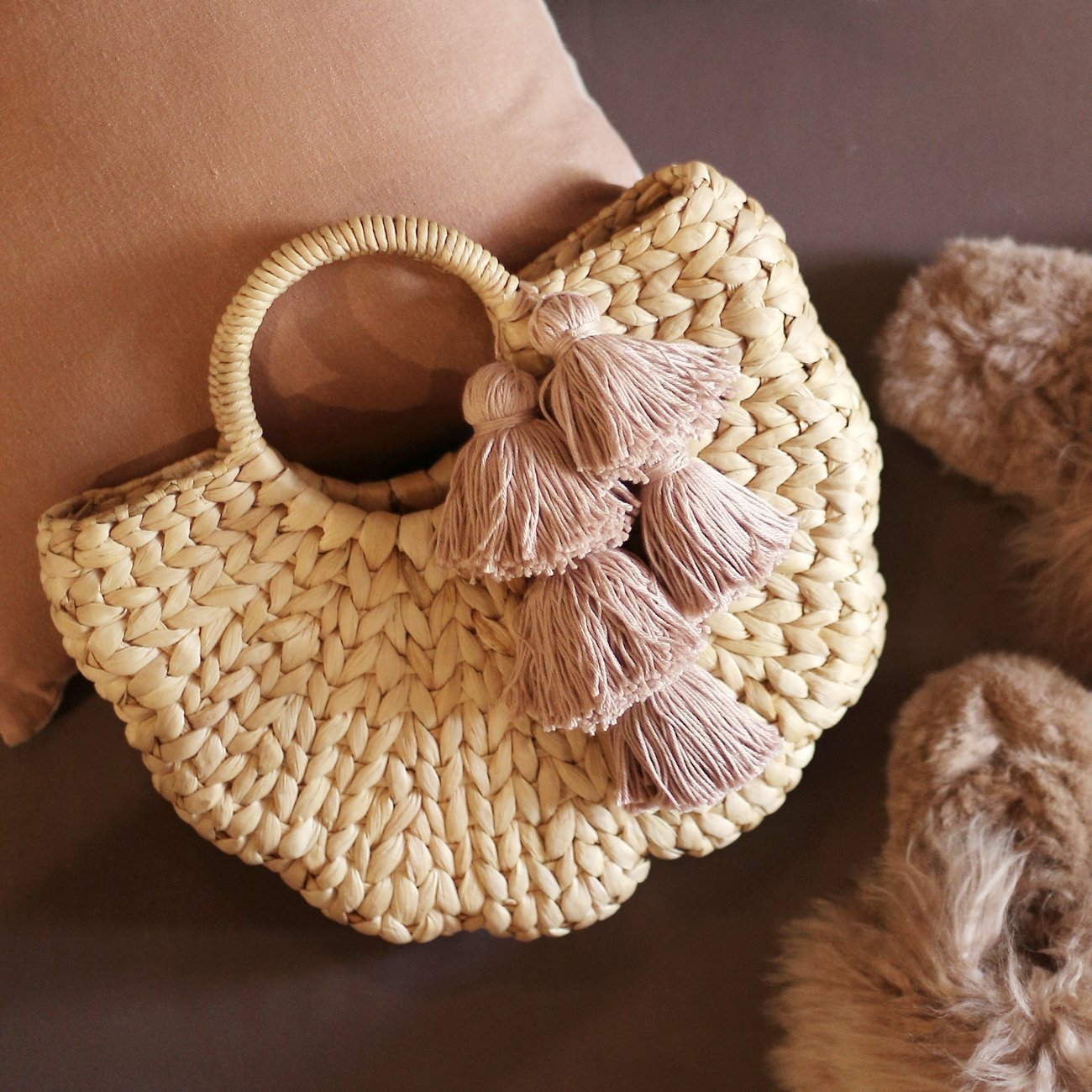 Shell Hyacinth Straw Bag, with Blush Tassels