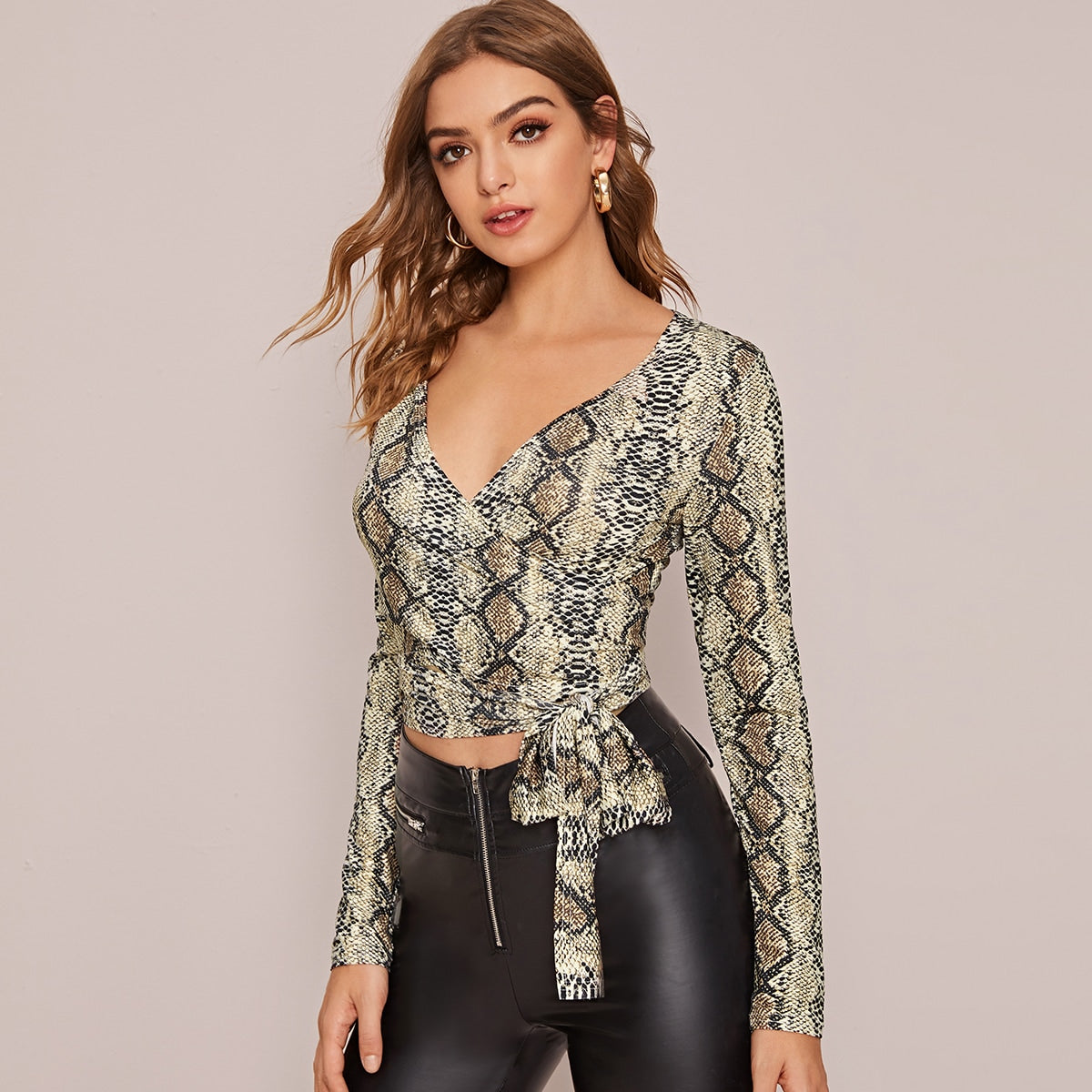 Snakeskin Fitted Tie Front Wrap Top