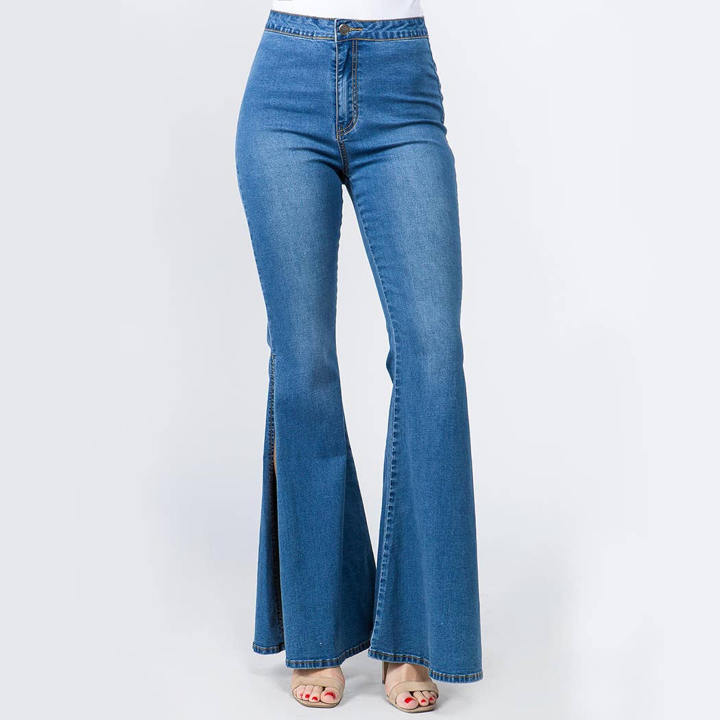 HIGH WAIST BELL BOTTOM SLIT DENIM JEANS-RJH3333
