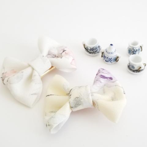 Floral bow hair clip set