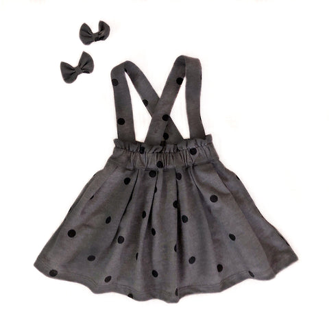 Dream Skirt & Bows - Grey Dots