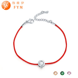 9 Colors Cubic Zircon Charm Red Rope Bracelet - usefulitem