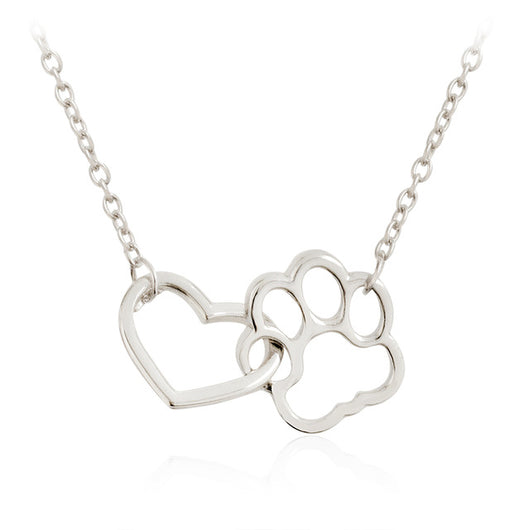 Linked Heart & Paw Necklace - For Dog & Cat Lovers Only - usefulitem