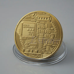 Gold Plated Bitcoin Coin - usefulitem