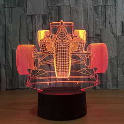Formula One Car Color Changeable 3D Lamp - usefulitem