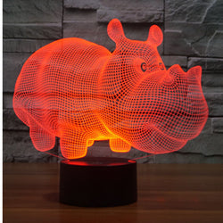 3D LED Rhinoceros Light Lamp with 7 Colors - usefulitem