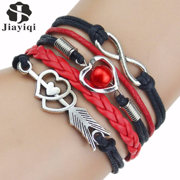 Multi-Strands Infinity Silver Color Heart Charm Leather Braid Bracelet in 9 Colors - usefulitem
