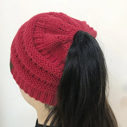 Women Warm Pony Tail Hat - Soft and Knitted - usefulitem