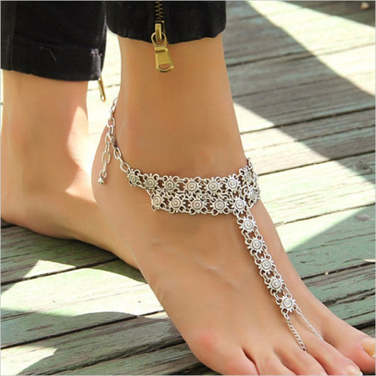 Vintage Antique Silver Retro Coin Anklets - usefulitem