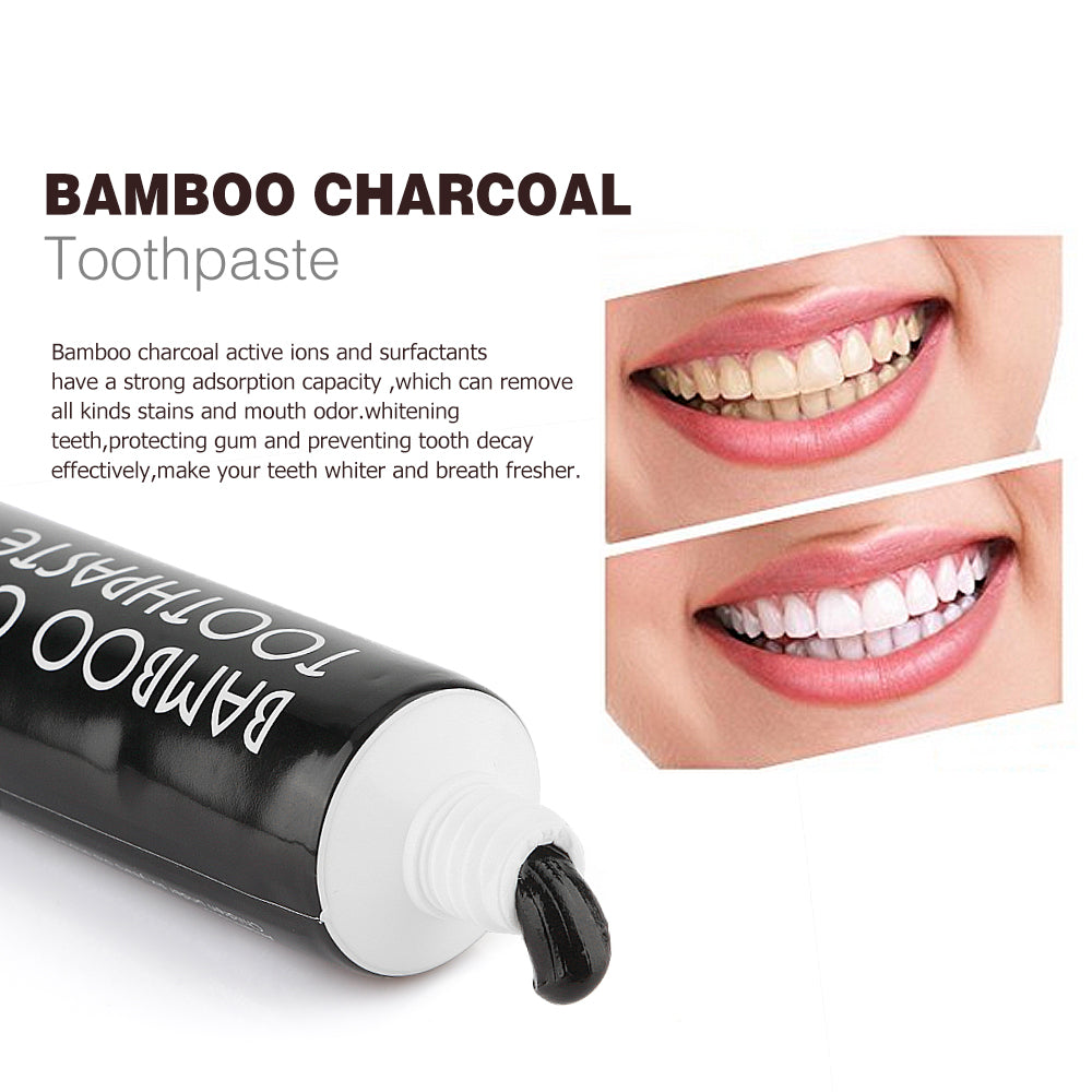 Activated Charcoal Teeth Whitening Set - Toothpaste, Tooth Powder & Toothbrush