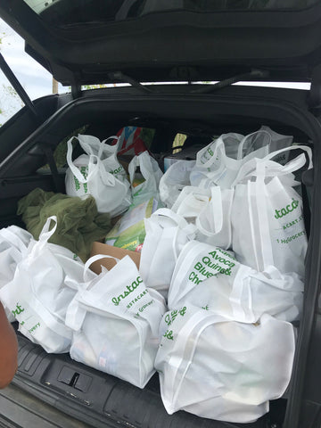Bags full with groceries for families affected by Huracan Maria in Puerto Rico photo by Around Eco