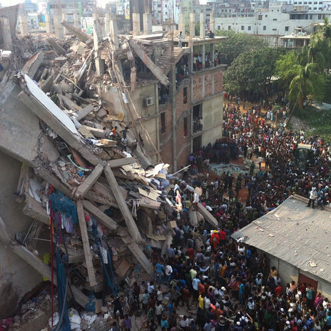 destroyed factory called rana plaza where thousands of garment workers lost their lives