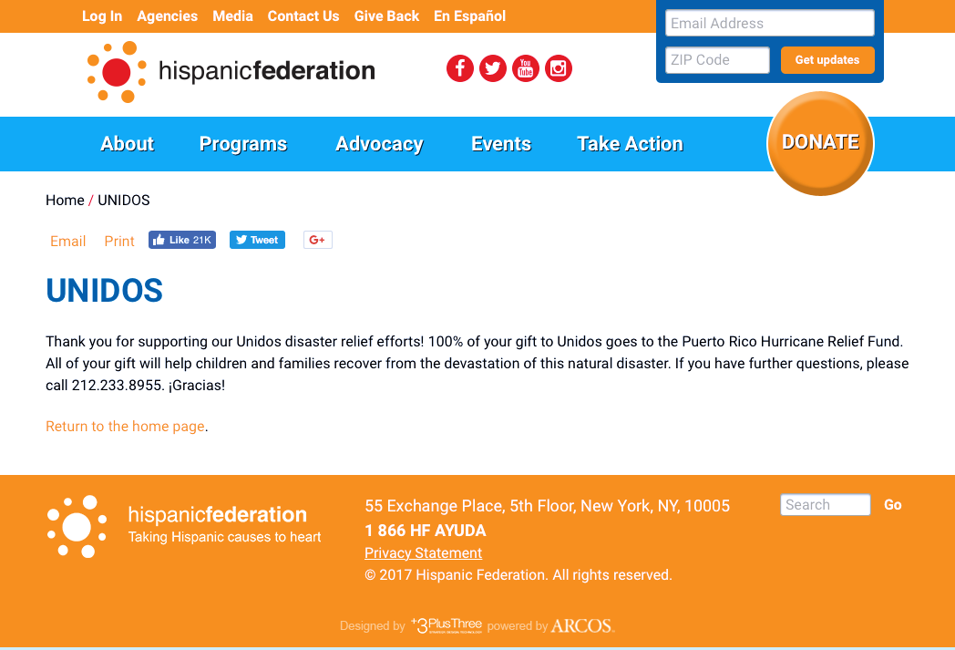 Around Eco Receipt for the Hispanic Federation Unidos disaster relief efforts
