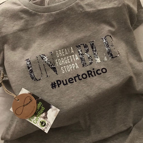 Around Eco Unforgettable ecofriendly and custom made tee fundraiser for Puerto Rico
