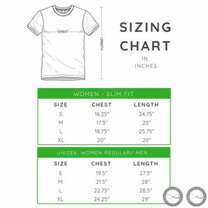 Around Eco T-shirt sizing chart for women and men
