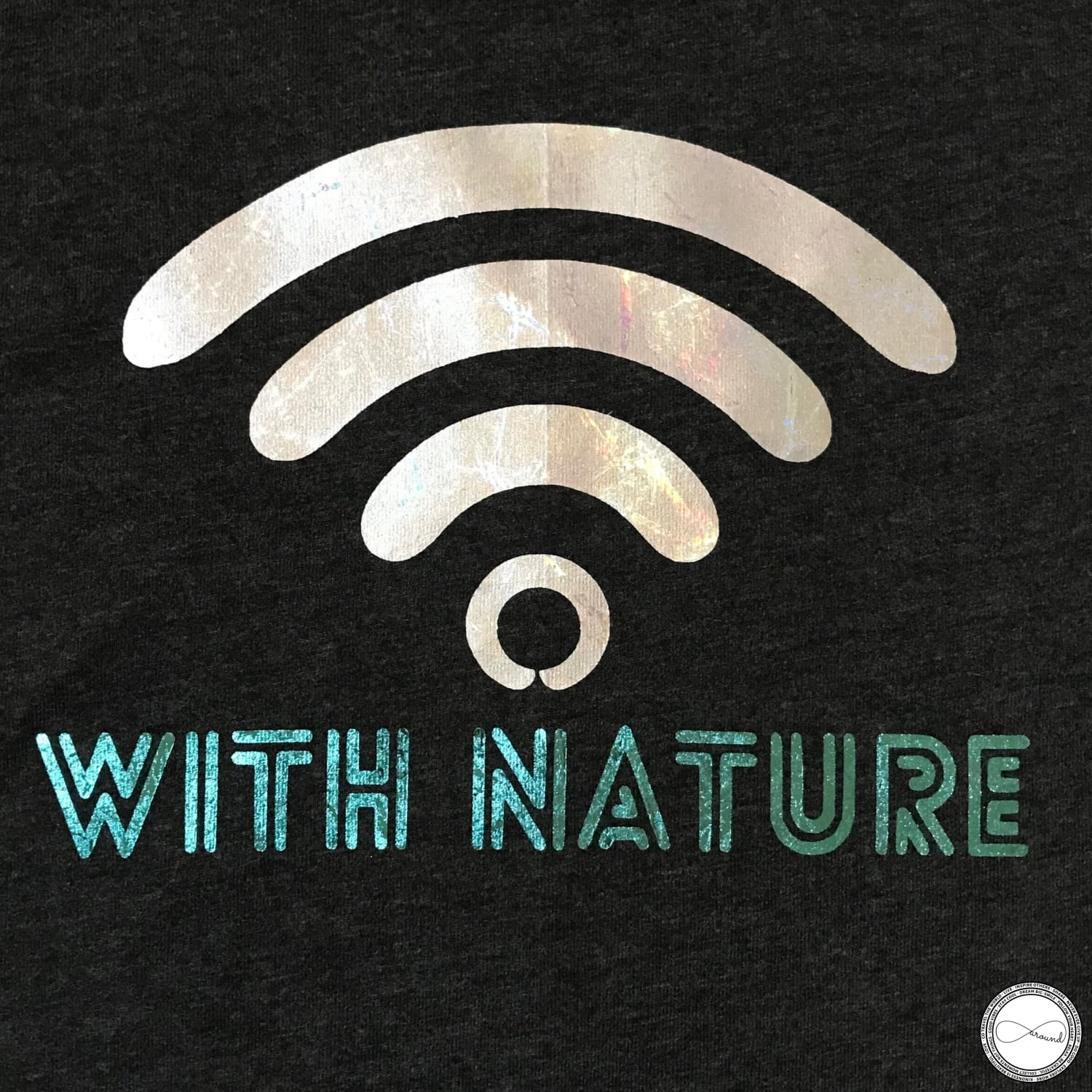 Around Eco fair trade and ecofriendly dark gray graphic tee with the words Connected With Nature Travel tshirt