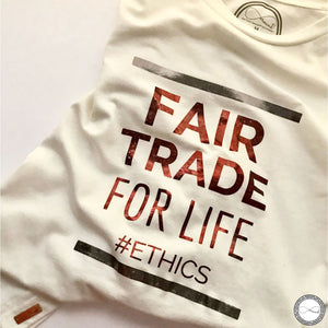 Around Eco fair trade and ecofriendly white graphic tee with the words Fair Trade For Life #ethics T-shirt
