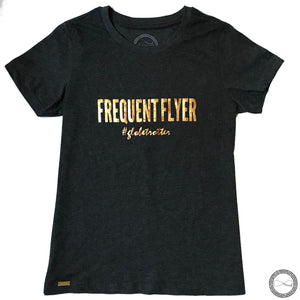 Around Eco fair trade and ecofriendly dark gray graphic tee with the words Frequent Flyer #globetrotter T-shirt