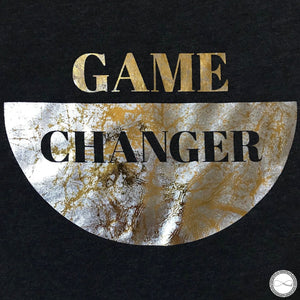 Around Eco fair trade and ecofriendly dark gray graphic tee with the words Game Changer Activist tshirt