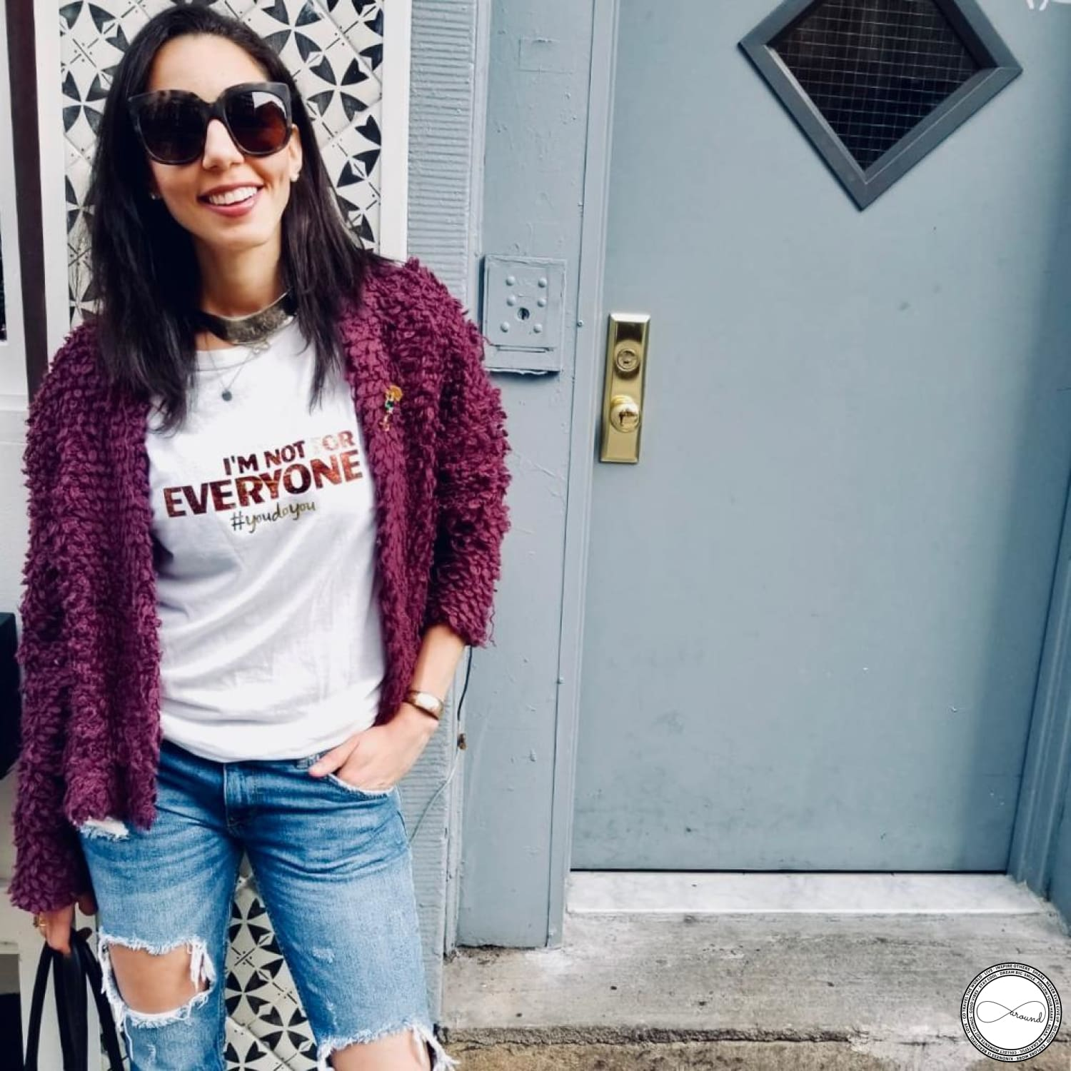 Female model wearing Around Eco fair trade and ecofriendly white graphic tee with the words I'm not for EVERYONE #youdoyou tshirt