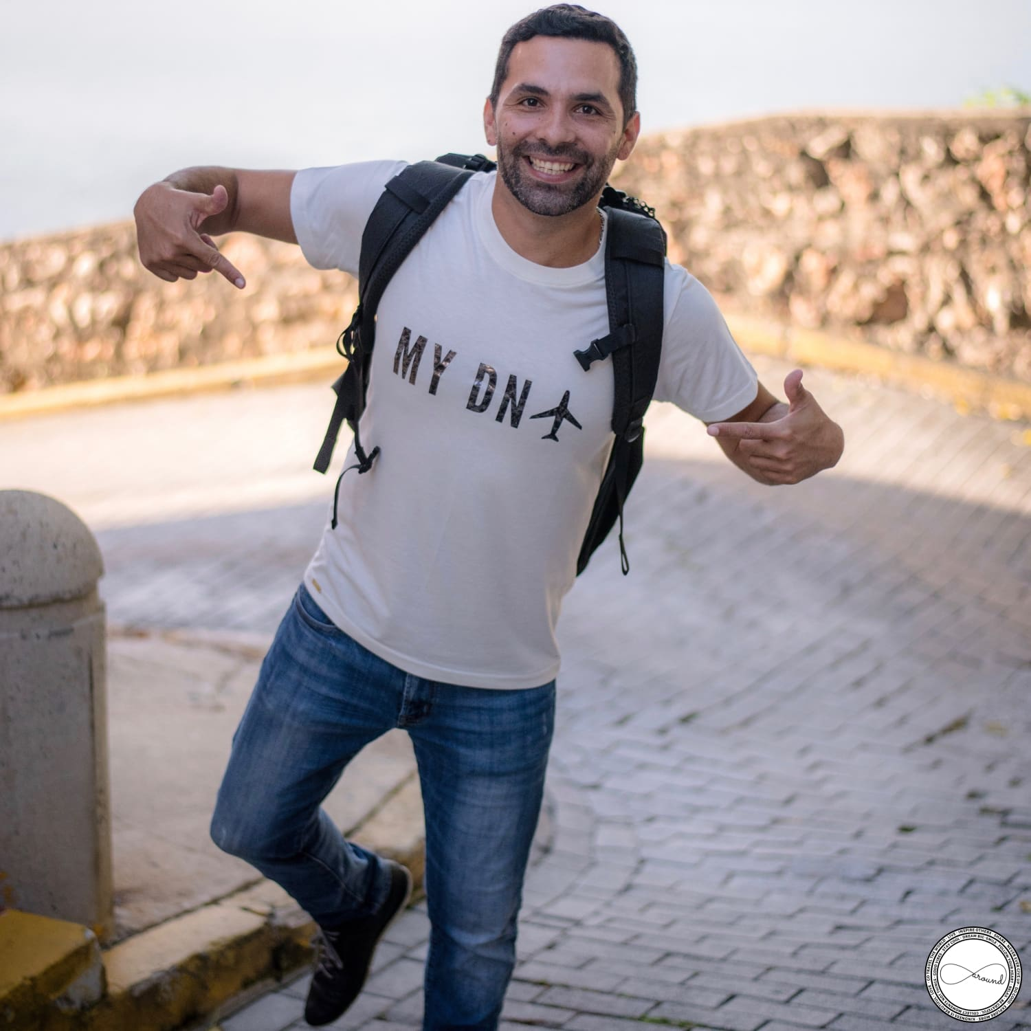 Mochileando MY DNA travel tshirt by Around Eco, soft t shirt, travel outfit, fairtrade clothing, organic cotton tee,tee shop