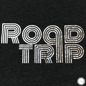Custom made Around Eco fair trade and ecofriendly dark gray graphic tee with the words Roadtrip tshirt