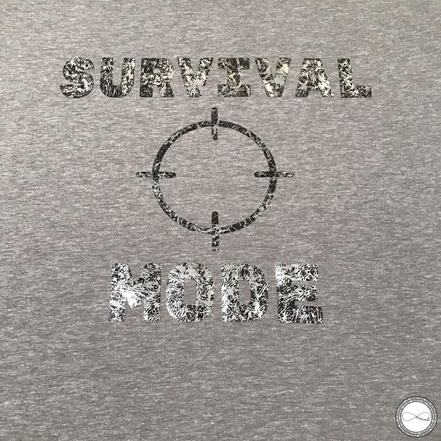 custom made Around Eco fair trade and ecofriendly light gray graphic tee with the words Survival Mode Travel tshirt