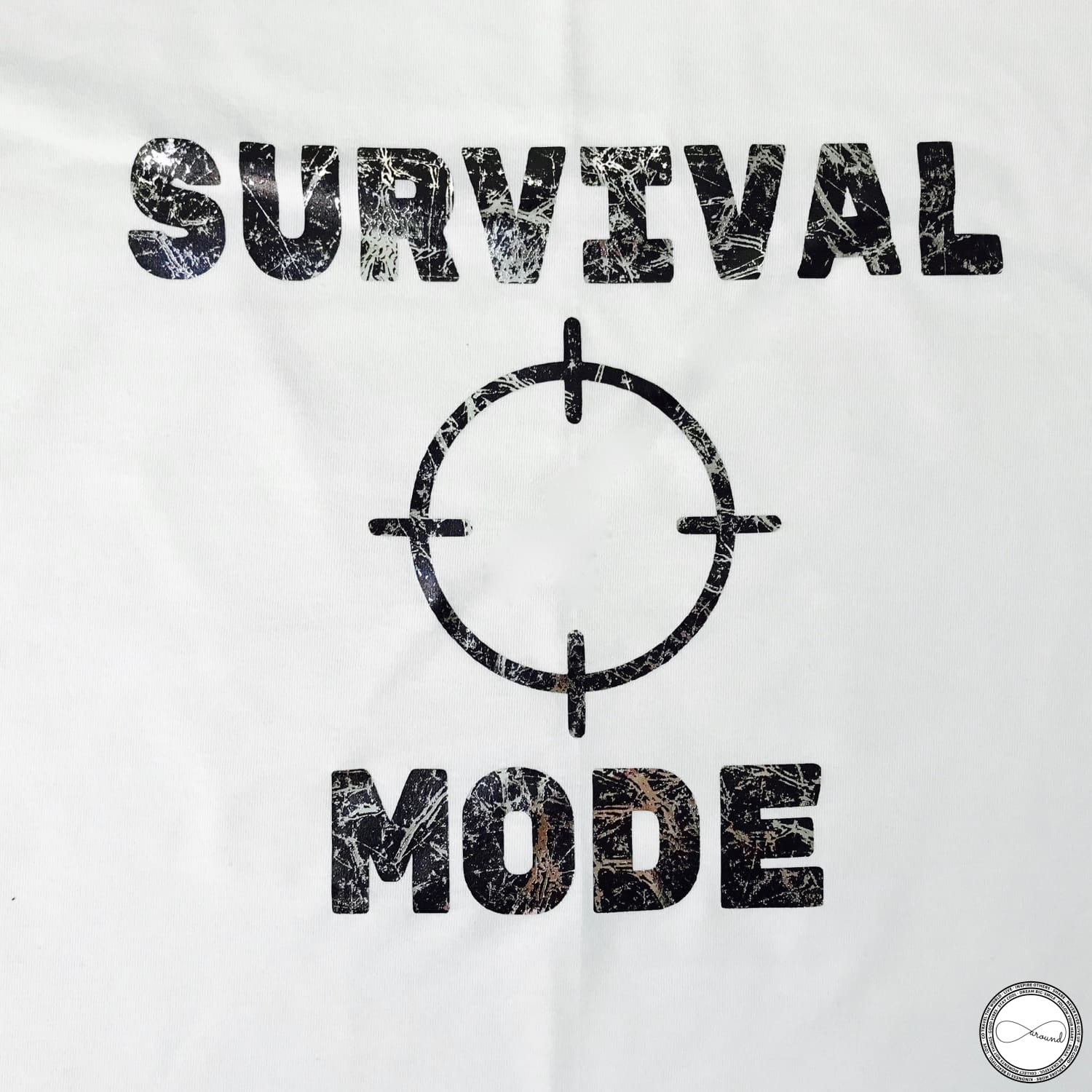 custom made Around Eco fair trade and ecofriendly white graphic tee with the words Survival Mode Travel tshirt