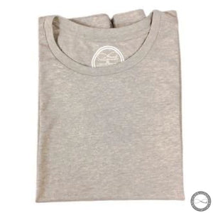 Custom made Around Eco fair trade and ecofriendly light gray graphic tee with the words The Basic not Boring Tshirt