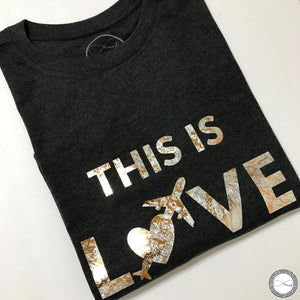 Custom made Around Eco fair trade and ecofriendly light gray graphic tee with the words This is Love travel tshirt