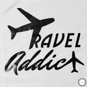 Custom made Around Eco fair trade and ecofriendly white graphic tee with the words Travel Addict tshirt