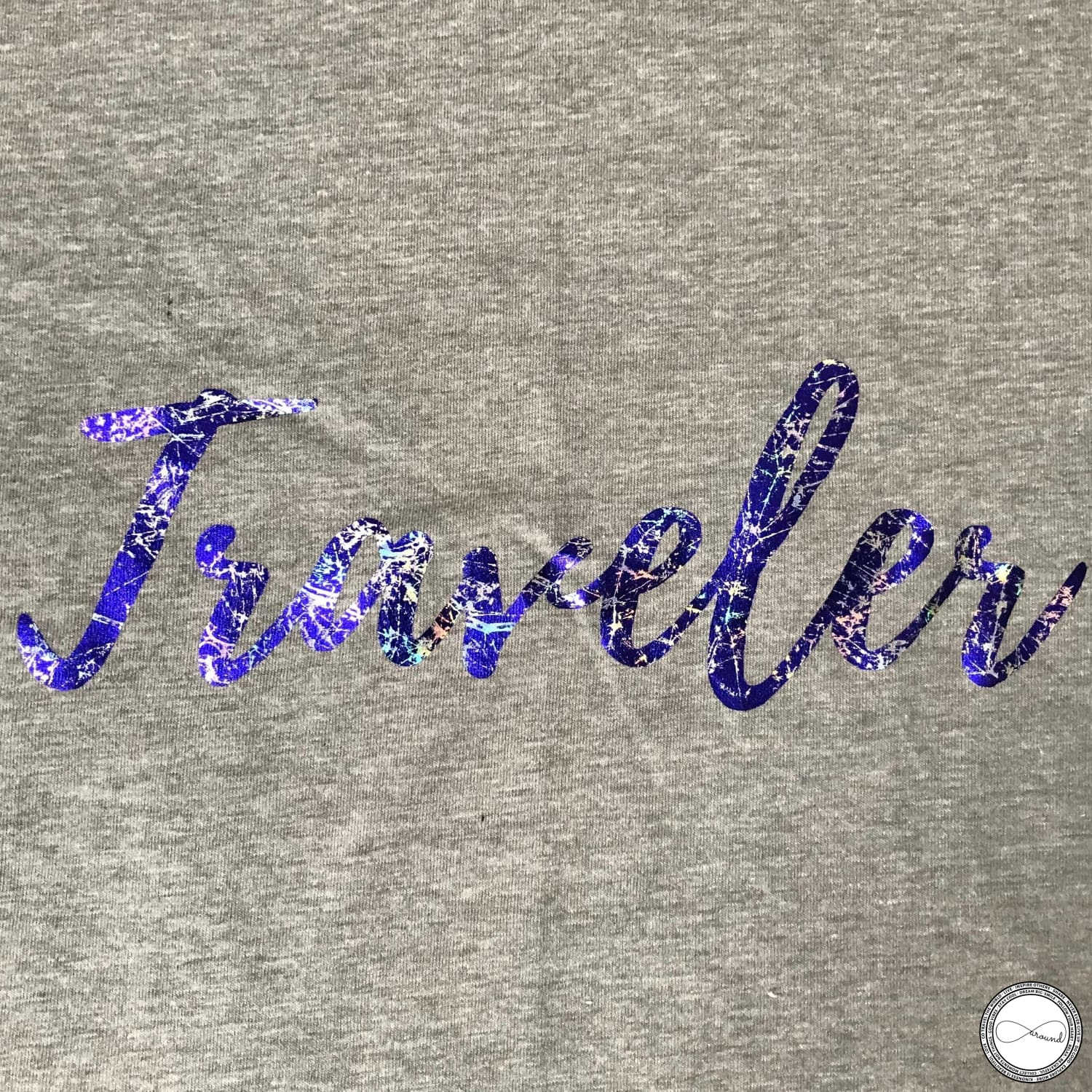 custom made Around Eco fair trade and ecofriendly light gray graphic tee with the words Traveler tshirt