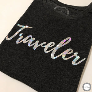 custom made Around Eco fair trade and ecofriendly dark gray graphic tee with the words Traveler tshirt