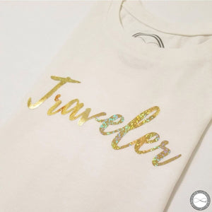 custom made Around Eco fair trade and ecofriendly white graphic tee with the words Traveler tshirt