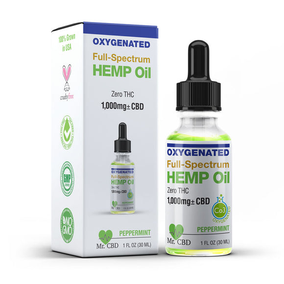 Mr. CBD 1,000mg Full-Spectrum Hemp Oil, Oxygenated & Zero-THC