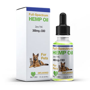 Mr. CBD Pet Oil - 300mg Full-Spectrum Hemp Oil, Unflavored & Zero-THC