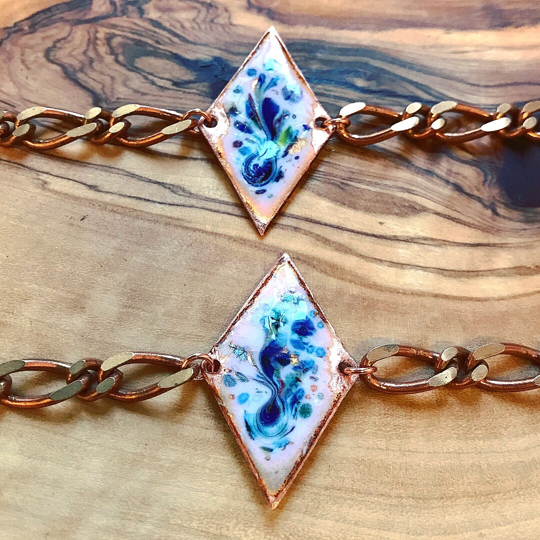Solid copper and enamel bracelet