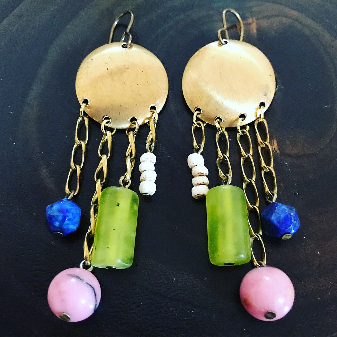 Mixed stone & brass earrings