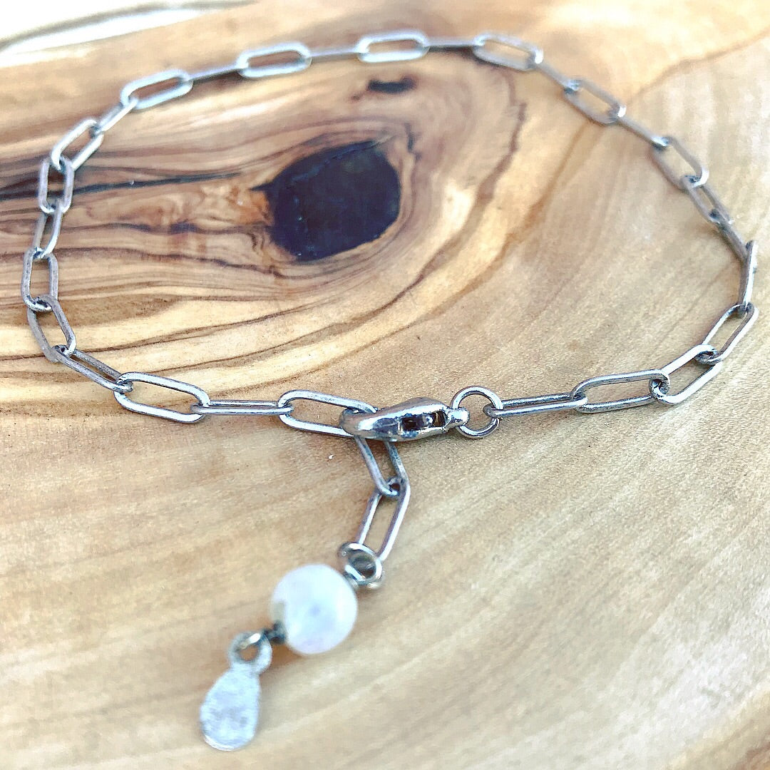 Silver chain and moonstone bracelet