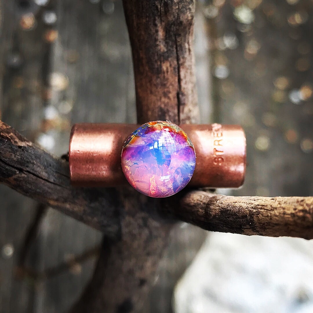 Glass fire opal and copper necklace