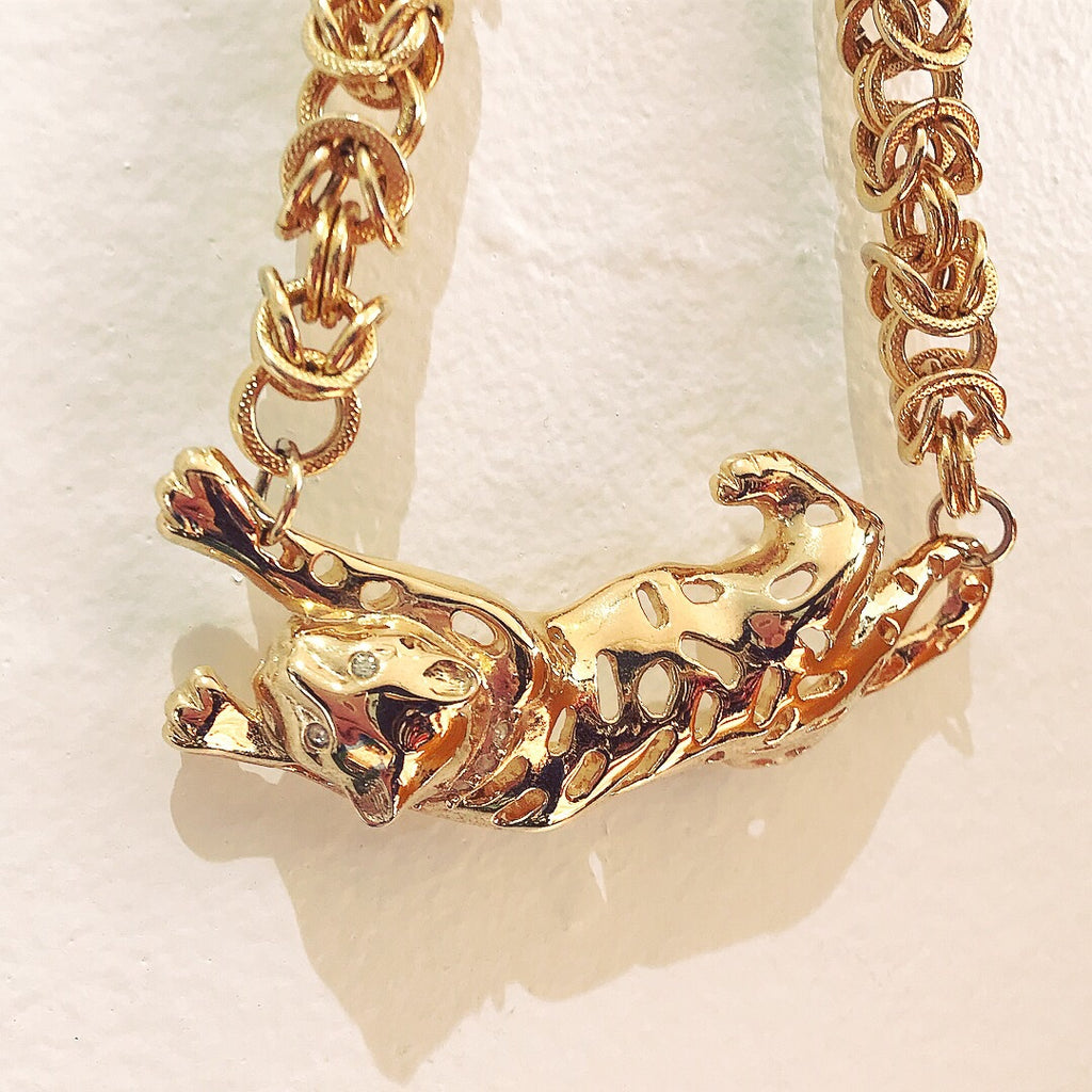 Heavy Cheetah Chain Choker