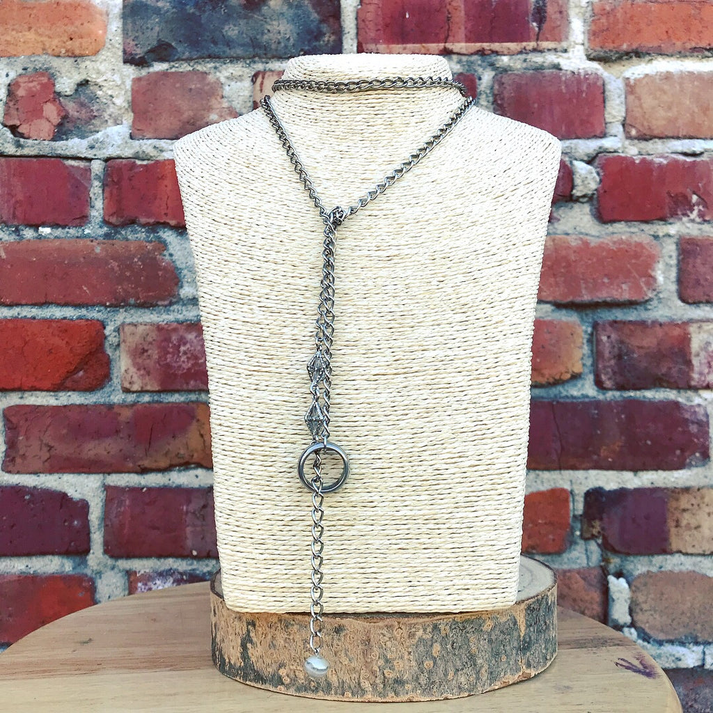 Silver chain and stone necklace