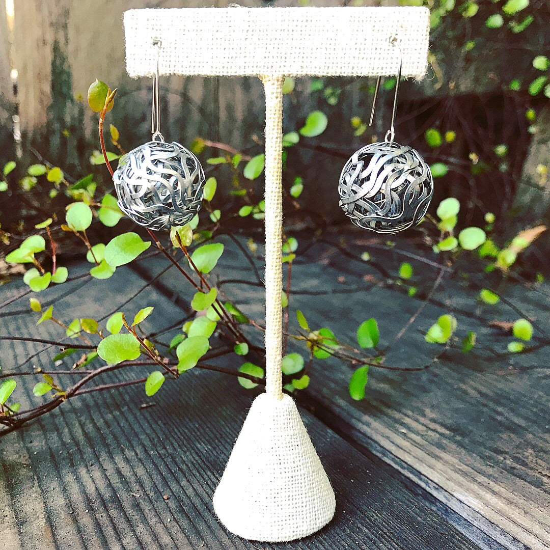 Wrapped steel ball earrings